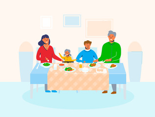 Family characters at home with children sitting at table eating food and talking to each other. Happy cartoon mother, father, daughter and son on holiday dinner. Vector illustration
