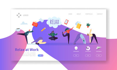 Relax at Work, Coffee Break Landing Page Template. Business People Characters Relaxing Meditating at Office Work for Web Page or Website. Easy Edit and Customize. Vector illustration