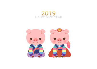 Happy New year 2019. Cute pig character in traditional Korean costume