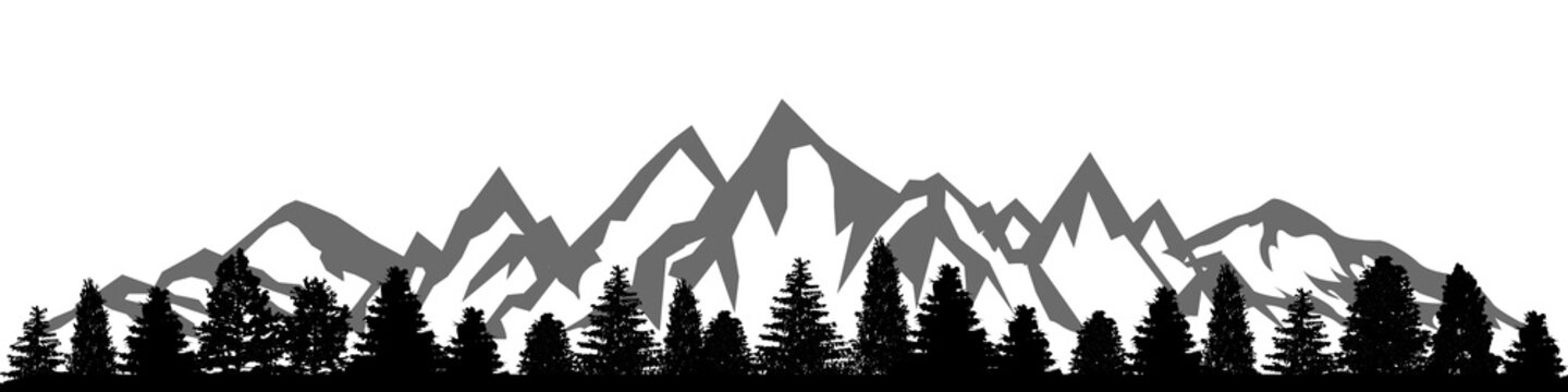 Mountain ridge with many peaks and the forest at the foot - vector