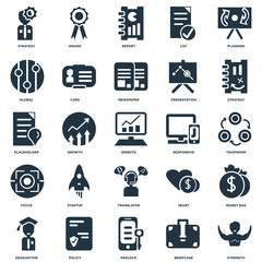 Elements Such As Strength, Briefcase, Padlock, Policy, Graduation, Strategy, Responsive, Translator, Focus, Global, Report, Award icon vector illustration on white background. Universal 25 icons set.