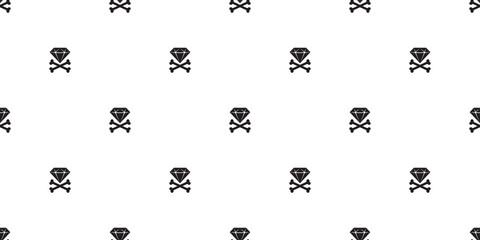 pirate cross bone seamless pattern diamond vector Halloween skull scarf isolated tile background repeat wallpaper