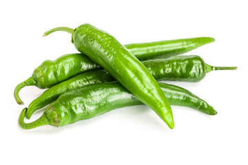 green hot chili peppers isolated on white background. Top view. Flat lay pattern Wall mural