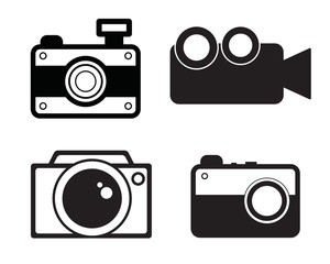 Camera, video camera, photo and video icon vector. Black color set, flat design, minimalist style.