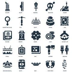 Elements Such As Mummy, Foot print, Dish, Egypt, Archaeological, Map, Coin, Fossil, Magnifying glass, Swords, Ruler icon vector illustration on white background. Universal 25 icons set.