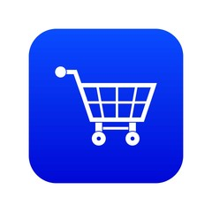 Shopping cart icon digital blue for any design isolated on white vector illustration