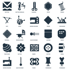 Elements Such As Mannequin, Arras, Pincushion, Knitting neddles, Sewing machine, Wool, Button, Material icon vector illustration on white background. Universal 25 icons set.