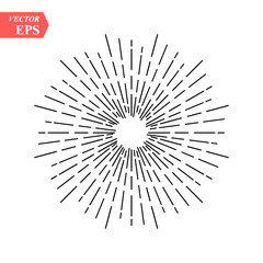 Linear drawing of radial sun rays in vintage style isolated on white background. Hand drawn black linear sun rays for web design elements, retro, classic and hipster logos, vector illustration