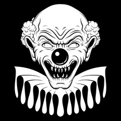 Vector hand drawn  illustration of angry clown. Tattoo artwork in realistic line style. Portrait of ugly clown.  Template for card, poster, banner, print for t-shirt.