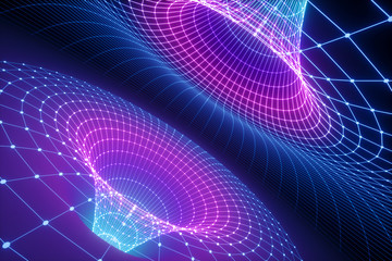3d render, abstract background, funnel grid, ultraviolet spectrum, gravity, matter, space, wormhole, cosmic wallpaper
