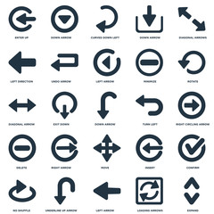 Elements Such As Expand, Right Circling Arrow, Rotate, Down arrow, No Shuffle, Undo Insert, Diagonal arrow icon vector illustration on white background. Universal 25 icons set.