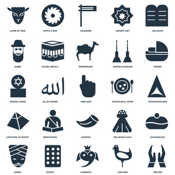 Elements Such As Prayer, Hamantaschen, Moses, Apple Cake, Hindu, Kaaba Mecca, Religious Salt, Jewish Coins icon vector illustration on white background. Universal 25 icons set.