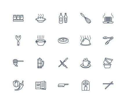 chopsticks, Coffee maker, Cleaver, Recipe book, Pepper, waffle i