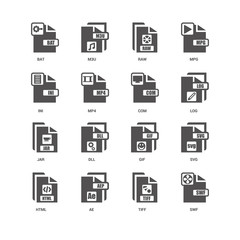 Swf, Log, Com, Html, Svg, Bat, Ini, Jar, Tiff, AE, Raw icon 16 s