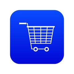 Empty supermarket cart with plastic handles icon digital blue for any design isolated on white vector illustration