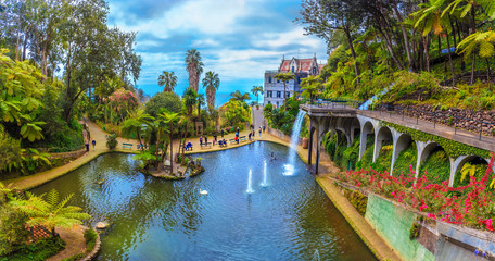 Beautiful panorama inside the tropical Garden of Madeira island in Portugal