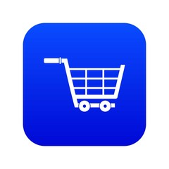 Large shopping trolley icon digital blue for any design isolated on white vector illustration