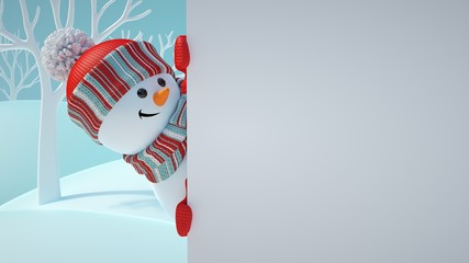 3d render, cute snowman, playing hide and seek, looking out the corner, holding blank banner, white page, Christmas background, New Year, greeting card template, space for text, winter landscape