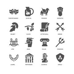 Shield, Olives, Theater Masks, Olive oil, Poseidon, Pillar, Zeus