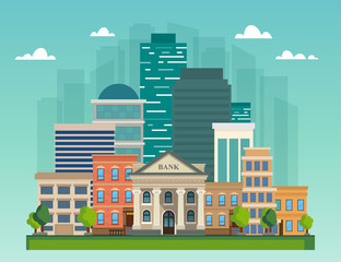 Flat vector illustration cityscape. City skyline office buildings, bank and family houses.
