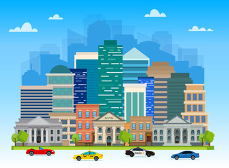 Urban landscapes with buildings, skyscrapers, banks, universities and family houses. Traffic on the road. Vector illustration.