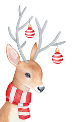 """Smiling reindeer character with large gray horns adorned with round decorative Christmas balls. Dressed in striped winter scarf, looking at """"camera"""". Watercolour graphic painting on white background."""