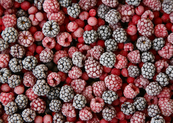 frozen berries used as background;