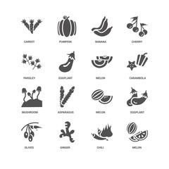 Melon, Carambola, Olives, Eggplant, Carrot, Parsley, Mushroom, C
