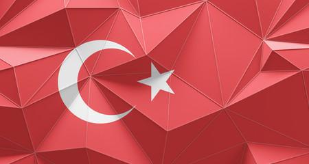 Turkey polygonal geometric flag background