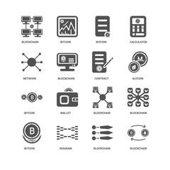 Blockchain, Bitcoin, Wallet, Blockchain icon 16 set EPS 10 vecto