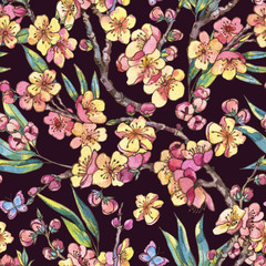 Watercolor spring seamless patten, vintage floral bouquet with blooming branches of cherry
