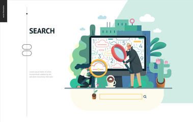 Business series, color 1 - search page - modern flat vector illustration concept of digital data research on computer. Information researching interaction process Creative landing page design template