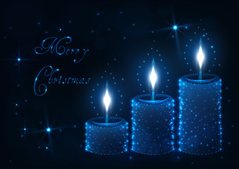 Merry Christmas greeting card with decorative aroma candle with flames, shiny stars and text.