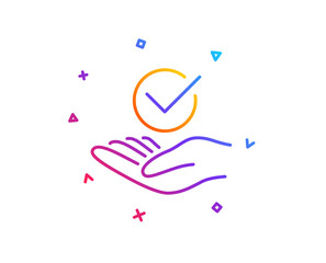 Approved line icon. Accepted or confirmed sign. Verified symbol. Gradient line button. Approved icon design. Colorful geometric shapes. Vector