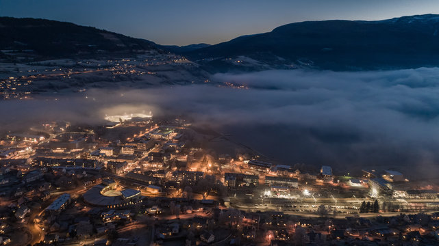 Stratus clouds over Voss town. Hordaland, Norway.