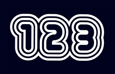 black and white number 123 logo company icon design Wall mural