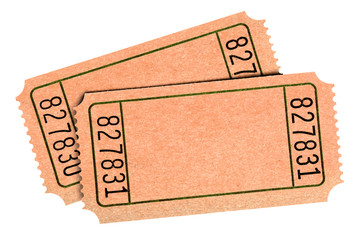 Old blank raffle tickets isolated white background