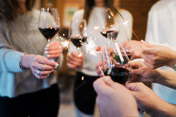 glases of wine, celebrating