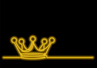 one line drawing of isolated vector object - crown with neon vector effect