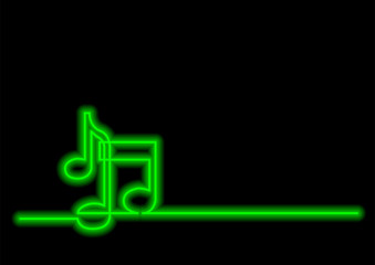 continuous line drawing of music notes with neon vector effect