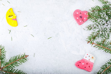 Christmas holiday background - decoration on a wooden table