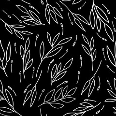 over all lines leaves Abstract monochrome seamless pattern