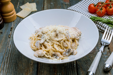 spaghetti with chicken and mushrooms