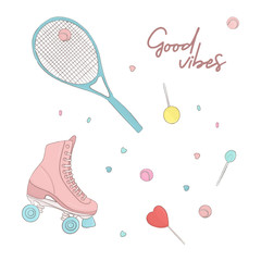 Doodle roller and tennis racket cool modern texture. Happy teen lollipop and sweets print. Hobby childhood sports lifestyle print.