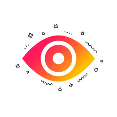Eye sign icon. Publish content button. Visibility. Colorful geometric shapes. Gradient eye icon design.  Vector