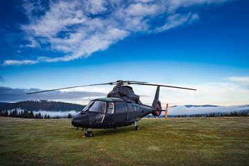 Terug privé helikopter in berglandschap