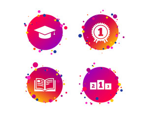 Graduation icons. Graduation student cap sign. Education book symbol. First place award. Winners podium. Gradient circle buttons with icons. Random dots design. Vector