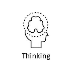 Human, brain in mind icon. Element of human mind with name icon. Thin line icon for website design and development, app development. Premium icon