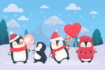 christmas penguins on snowy background