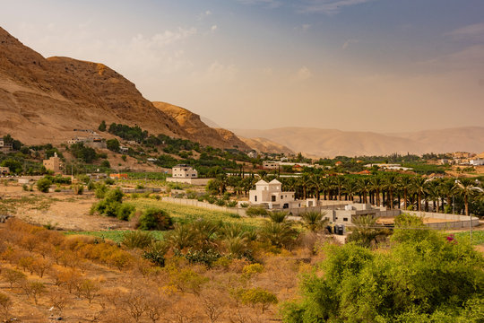 View of the valley of the river Jordan in the vicinity of the ancient city of Jericho. Palestinian West Bank